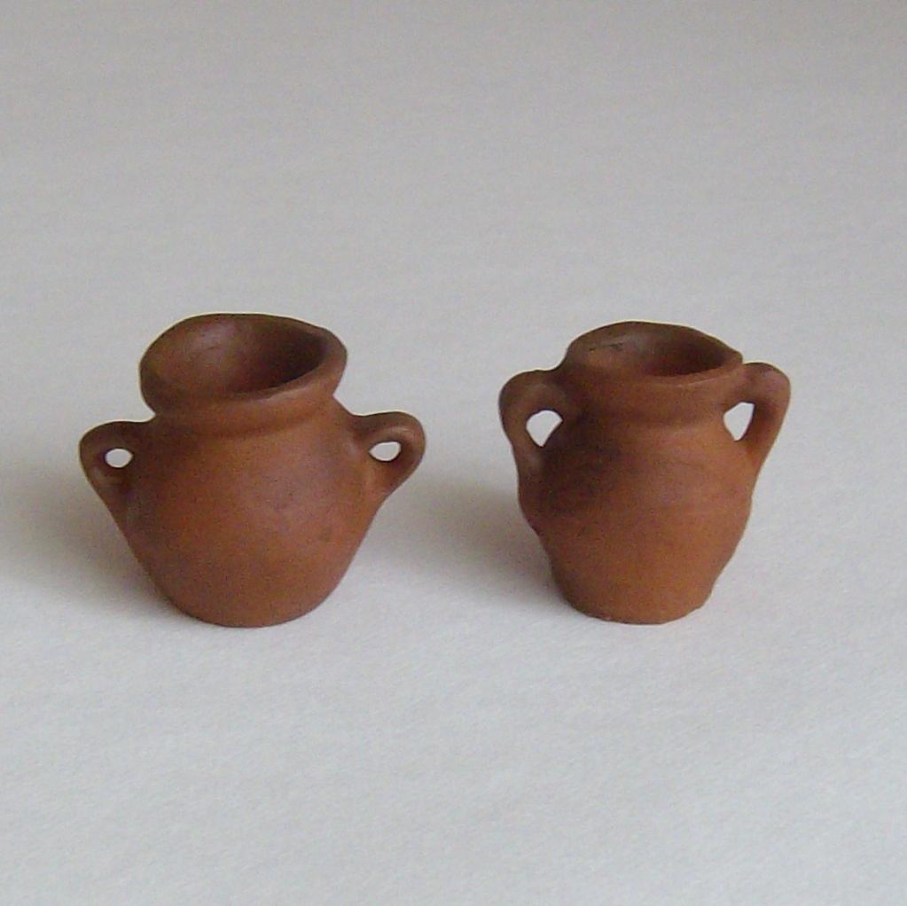 krippenzubeh r tonkr ge 2er set 2 verschiedene tonkr ge krug vase aus ton selfkant krippen. Black Bedroom Furniture Sets. Home Design Ideas