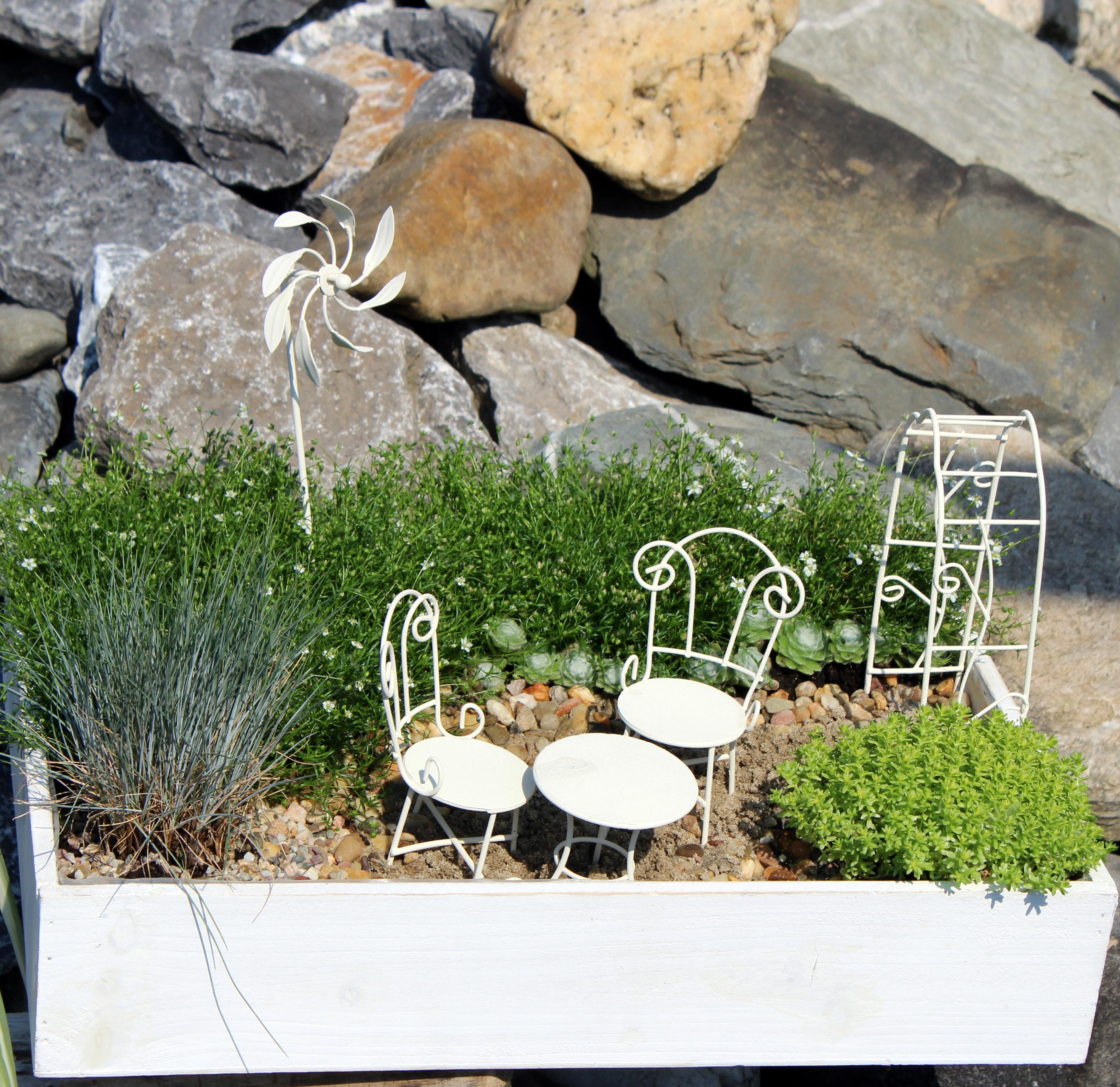 Mini-Garten, Sitzgruppe, 3-teilig, gedreht, weiß, Minigarten, Deko ...